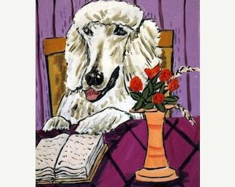 20% off Poodle Reading Dog Art Print