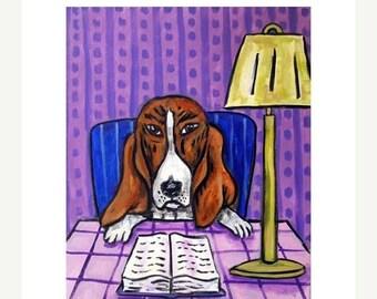 20% off Basset Hound Reading a Book Dog Art Print