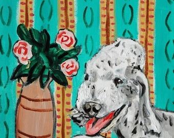 20% off Bedlington Terrier signed dog art print animals impressionism fauvism artist gift new