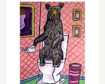 20% off Black Bear in the Bathroom Art Print