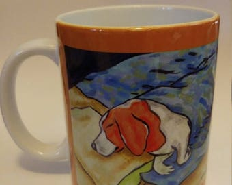 20% off beagle sleeping dog art mug cup 11 oz gift