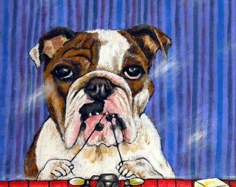 20% off Bulldog flossing signed dog art print modern bathroom art