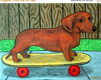 dachshund art - Dachshund Skateboarding Art Print  schmetz - dachshund gifts