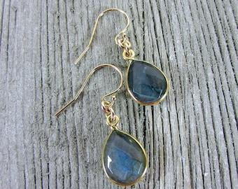 Delicate Gemstone Teardrop Earrings