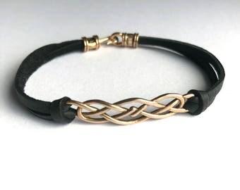 Celtic Knot Leather bracelet, Bronze Irish Celtic Knot, Celtic jewelry, Outlander Bracelet, gift for woman, gift for her, St Patricks gift