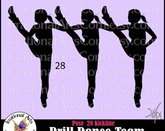 Drill Dance Team Silhouettes pose 28 Kickline - with 1 EPS & SVG Vinyl Ready files and 1 PNG Digital Files and Small Commercial License