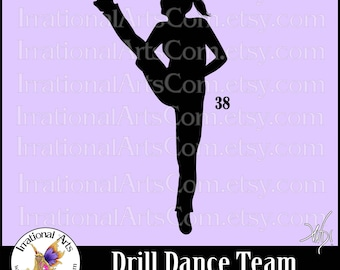 Drill Dance Team Silhouettes pose 38 - with 1 EPS & SVG Vinyl Ready files and 1 PNG Digital Files and Small Commercial License