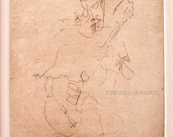 MATTED Original Handprinted Etching-Musician Guitar Player Blind Contour Drawing-signed artwork
