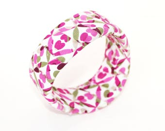 Pink, brown, taupe and white fabric wrap bangle