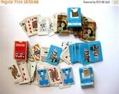 SPRING SALE Vintage Miniature Playing Cards, Three Decks, Ephemera Cards