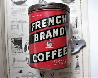 Vintage Red and Black French Brand Coffee Tin, Rustic Kitchen Display, with Screw On Lid