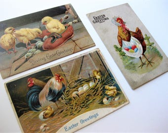 Vintage Easter Postcards, Lot of Three, Chickens and Roosters, 1911
