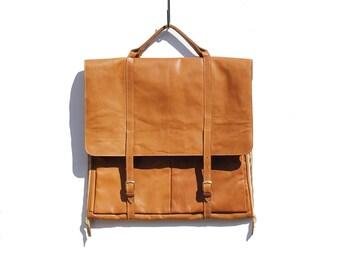 Vintage Brown Leather Garment Bag