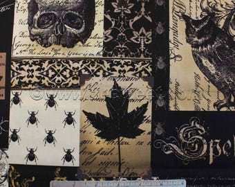 Michael Miller NEVERMORE COLLAGE Black - Cotton Quilt Fabric - Last Pieces Precut Remnants - Goth Halloween