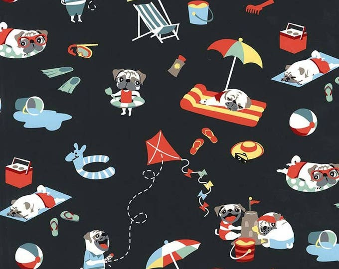 "Remnants PUGS DAY Off Grey Rare Black Dog Dogs Pug Cotton Quilt Fabric - 2 Pieces - 1 Fat Quarter and 1 remnant 14.5"" x 45"" Total .65 Yards"