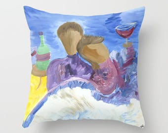 Pillow Covers, Art Pillows, Wine, Wine in Bed, Newlyweds, Couples, Love, Valentine, Anniversary, True Love, Decorative Pillow
