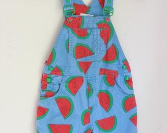 Vintage Watermelon girls overalls Gymboree 4t 5t