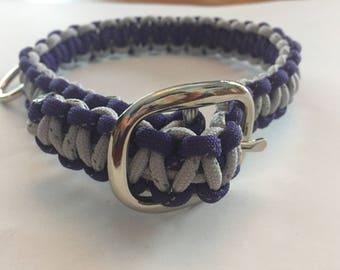 "Dog Collar Reflective Gray and Purple 16 1/2"""