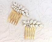 White Opal and Gold Rhinestone Hair Comb , small bridal comb, small rhinestone hair xomb, white opal hair pin,  opal hair accessories JOVIE