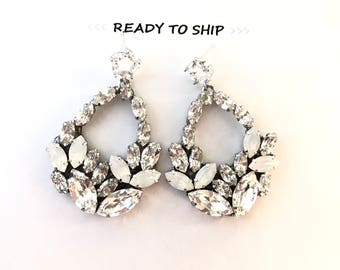 RTS Leaf Rhinestone Statement Earrings, Chandelier Bridal Earrings, statement wedding earrings, White Opal Rhinestone Earrings VIENNA