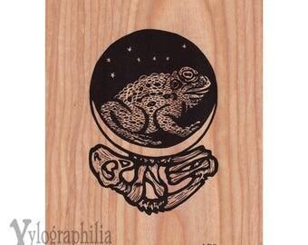 Toad screenprint on genuine wood veneer 5 x 7