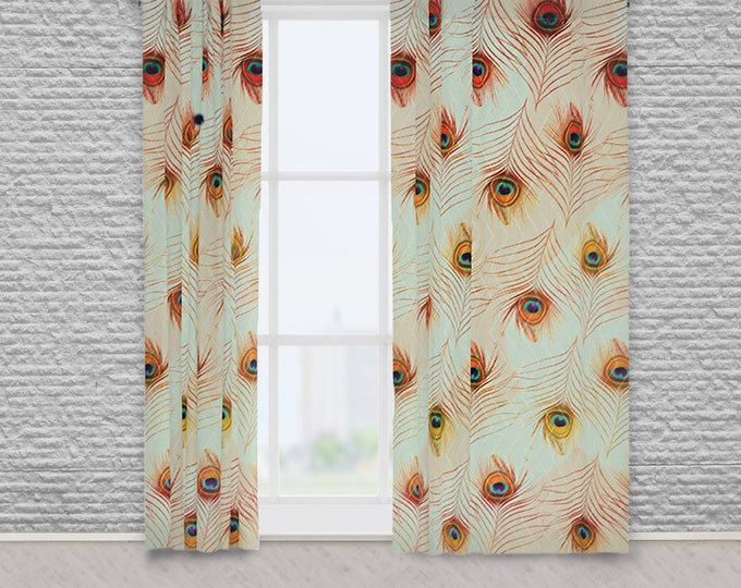 Boho Peacock Feather and Zigzag Pattern Green and Peach Fabric Window Drapes