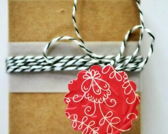Red Scallop Envelope Seals {15} | Envelope Seals | Red Floral Seals | Embossed Gift Seals | Red Flower Gift Seals | Gift under 5
