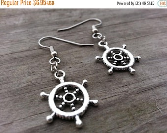 25% off Summer Sale Ship Wheel Sailor's Helm Sensitive Ears Earrings