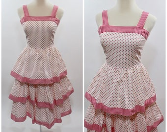 Women's Vintage 1950s Style Act I Pink Polka Dot and Stripe Ruffle Tier Sun Party Dress XS S