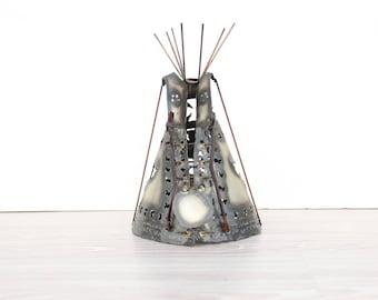 Handmade Metal Brutalist Teepee Sculpture
