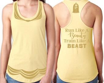 Belle Running Tank Shirt Front, Back - Dress Front, Rose & Run Like a Beauty Train Like a Beast Back - Yellow Shirt, Gold Vinyl
