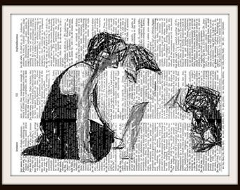 Dirty Dancing Kiss Sketch- Baby and Johnny Castle- Vintage Dictionary Art Print--Fits 8x10 Mat or Frame