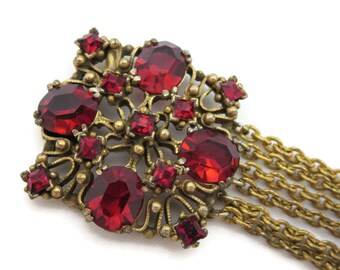 Red Rhinestone Bracelet - Rhinestone Clasp Multi Chains Brass and Pot Metal 1930s