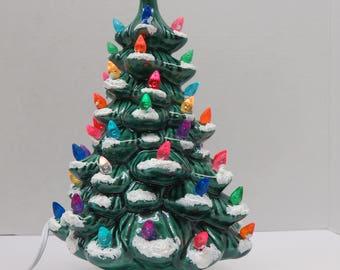 Green Glazed Ceramic Christmas Tree 11 inch version