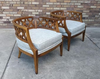 2 HOLLYWOOD REGENCY lattice lounge  chairs