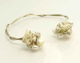 Sterling Silver Wire Wrapped Seashell & Pearl Bracelet Wedding Bridal Jewelry
