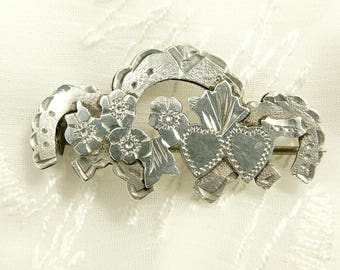 Antique Edwardian Sterling Sweetheart Brooch Horseshoe & Floral English Hallmarked