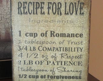 Wood plaque Recipe For Love