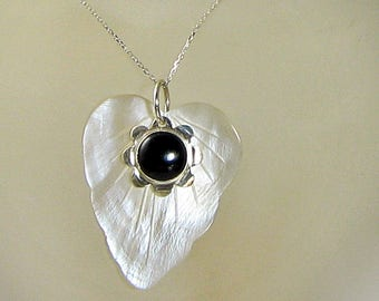 Black Onyx Sterling Silver flower Shell Pendant Necklace White Carved Lead MOP workplace jewelry Ooak Anniversary Birthday Gift for Her