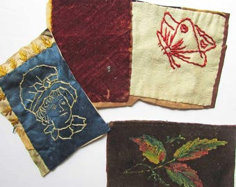 Three Antique Victorian 1890's Quilt Fragments, Embroidered Fancy Work, Crazy Quilt Piece for Framing, Creative Work, Young Girl, Butterfly