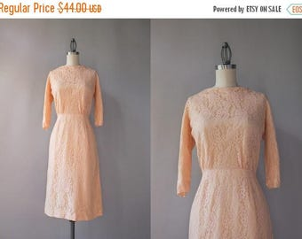 STOREWIDE SALE 1960s Dress / Vintage 60s Pale Pink Lace Dress / 50s Fitted Lace Dress