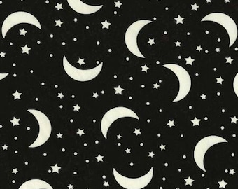 Moon and Stars Glow in the Dark Timeless Treasures fabric 1 yard