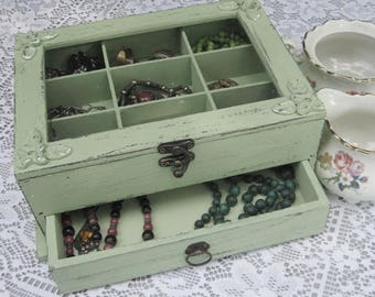 "Wooden Jewelry Box Light Green ""Shabby Chic"" home decor, jewelry storage, jewelry cabinet"