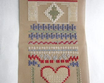 ON SALE- vintage cross stitch needlepoint sampler w heart - not framed