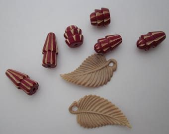 vintage celluloid destash lot 6 carved burgundy oxblood red and tan stripe beads and 2 tan leaf charms