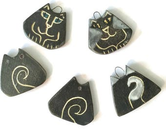 Cat lover pendant charm ornament gift tag hand made fine feline whimsical design black white gray glaze colors