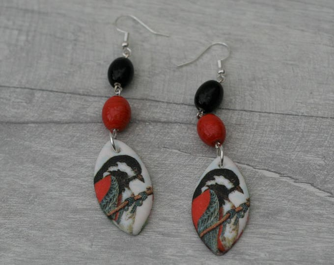 Black and Red Bird Statement Earrings, Animal Jewelry