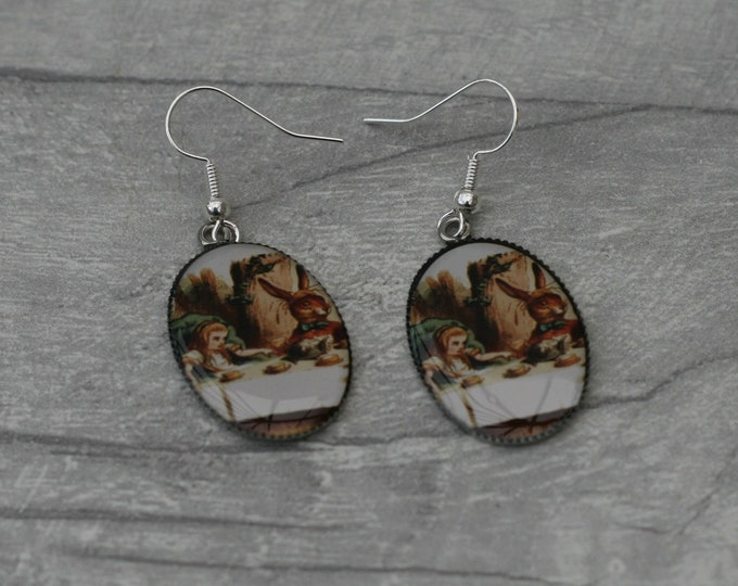 Mad Hatter Tea Party Earrings, Alice in Wonderland Illustration, Dangle Earrings, Alice In Wonderland