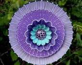 RESERVED for NANCY Lavender Purple Hand Painted Glass Garden Flower Plate Sculpture