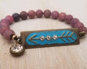 agate bracelet, beaded bracelet for women, follow your arrow, boho jewelry, inspirational jewelry, mothers day gift, gift mom,